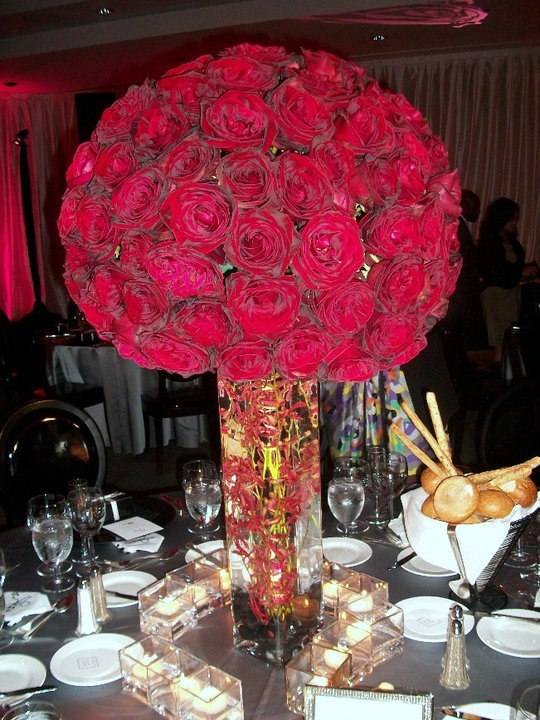 Red themed wedding reception