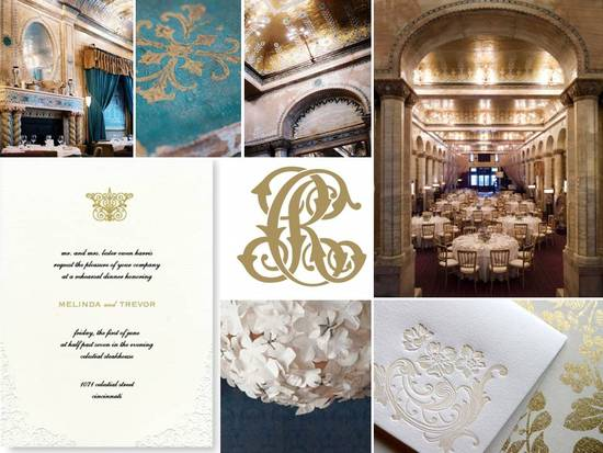 Plan a wedding inspired by the royals with a regal gold and ivory color palette