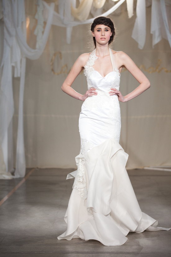 Sleek halter mermaid wedding dress with lace applique
