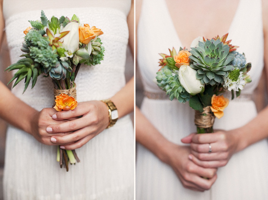 Destination wedding bride holds romantic succulent bridal bouquet