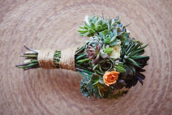 Go green with a bridal bouquet made from eco-chic succulents