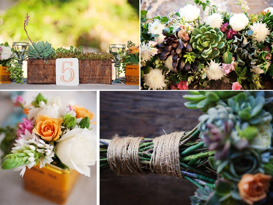 Gorgeous eco friendly succulents for wedding reception Environmentally friendly decorations