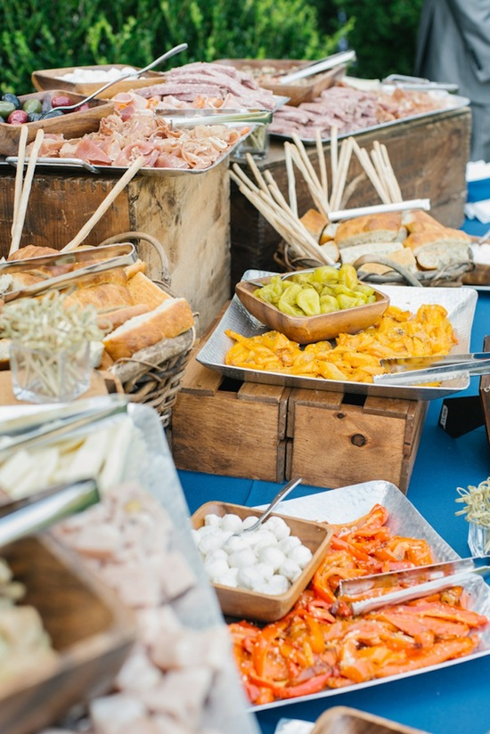 Southern food spread at an outdoor wedding