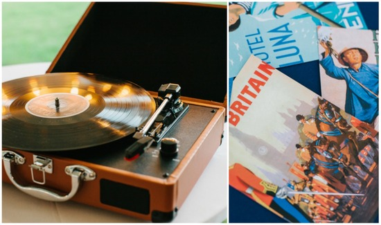 Vintage record player and post cards reception decor