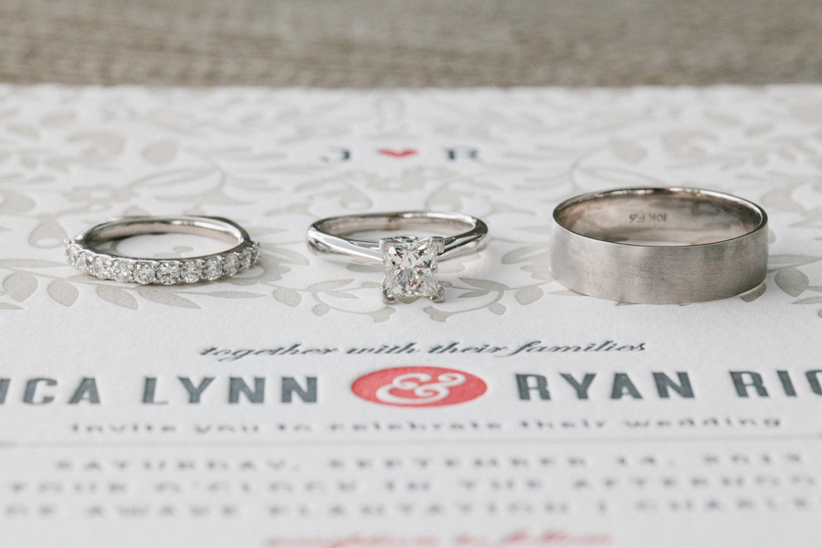Wedding bands and engagement ring on invitation