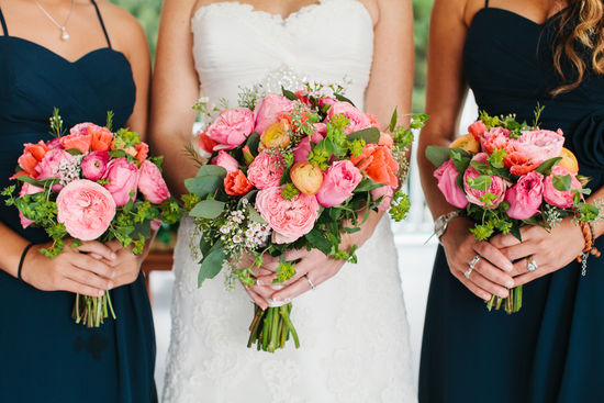Wedding flowers in pink and yellow