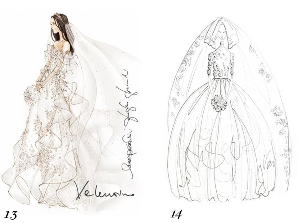 Valentino and Vera Wang sketch Kate Middleton\'s wedding dress