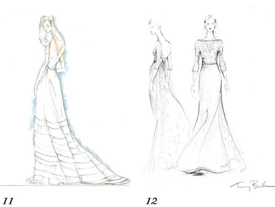 Royal wedding dress speculation- Tommy Hilfiger and Tory Burch sketch their visions of Kate Middleto