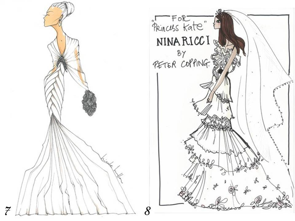 Nicole Miller's and Nina Ricci's interpretations of Kate Middleton's bridal gown