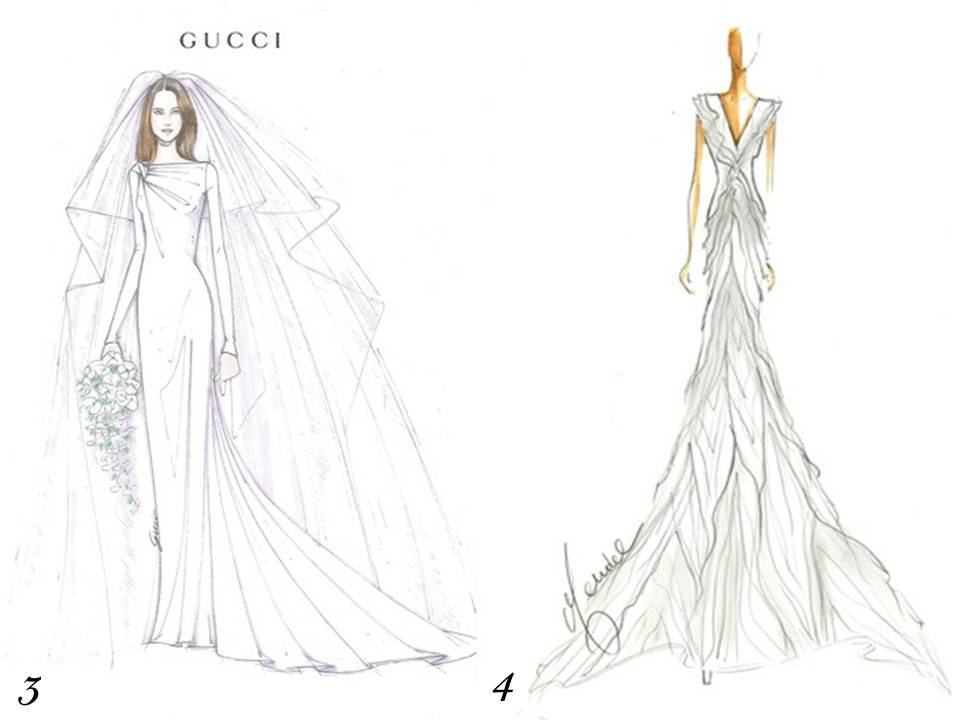 Gucci and J. Mendel sketch their visions for Kate Middleton's wedding dress