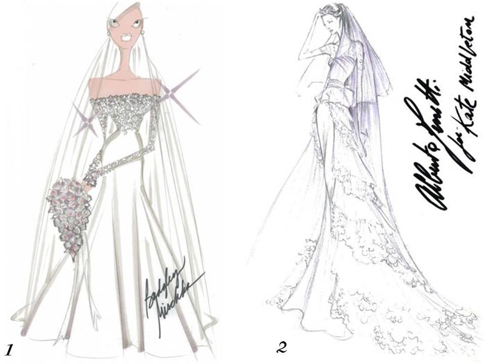 Badgley Mischka and Alberta Ferretti sketch Kate Middleton's wedding dress