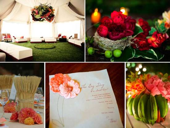 Vibrant, unique wedding reception table centerpieces and textured wedding programs