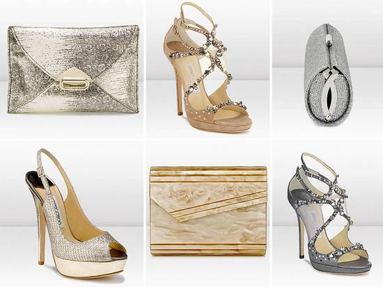 Chic bridal heels and wedding day clutches by Jimmy Choo
