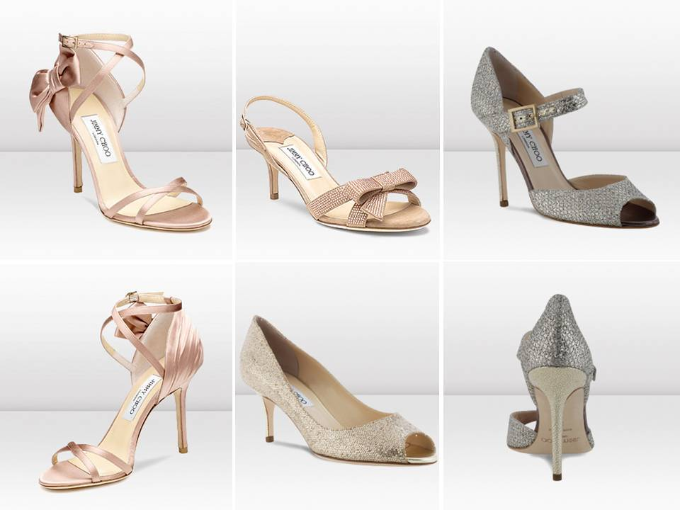 Stylish open-toe bridal heels by Jimmy Choo
