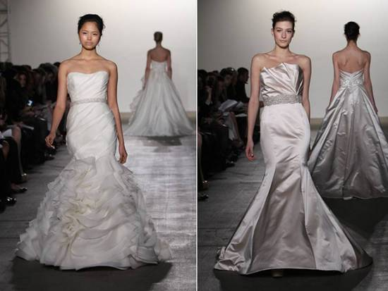 Chic mermaid wedding dresses with embellished bridal sash by Rivini