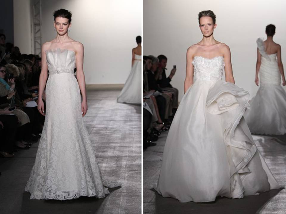 lace a-line gown with bridal sash and ivory ballgown by Rivini