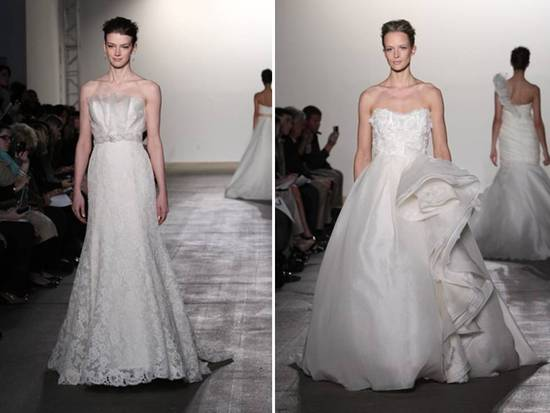 romantic lace a-line gown with bridal sash and ivory ballgown by Rivini