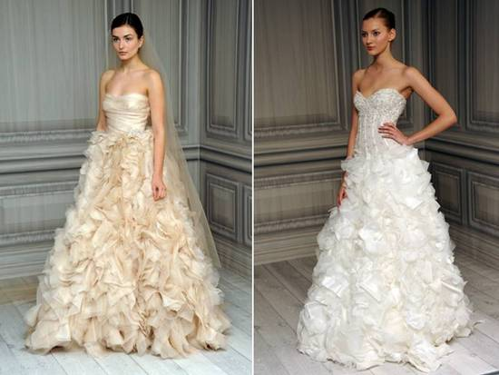 Texture-rich Spring 2012 Monique Lhuillier wedding dresses