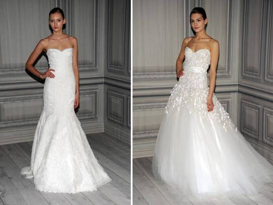Classic white lace mermaid wedding dress and romantic tulle ball gown by Monique Lhuillier