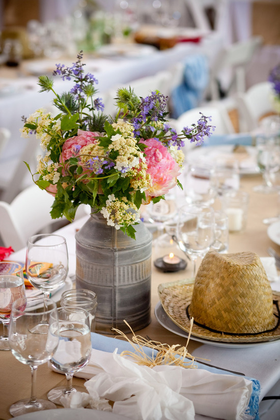 Rustic chic wedding flower centerpieces in vintage jars