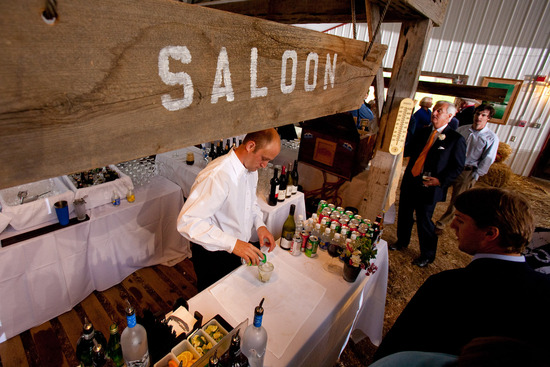 Country chic Jackson, WY wedding with saloon for wedding guests