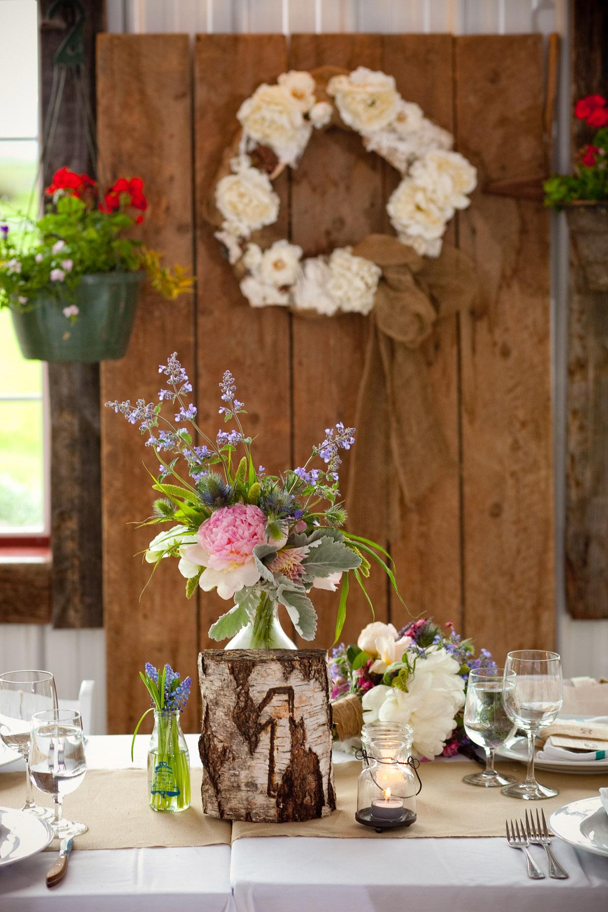 Rustic Wedding Reception Centerpieces With DIY Table