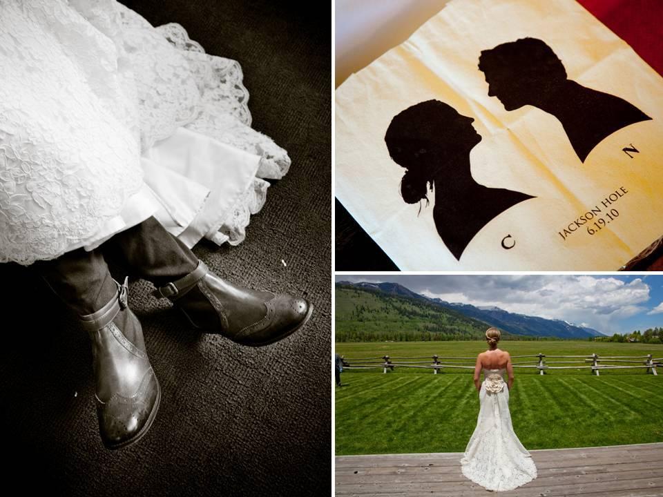 Western-theme-real-wedding-bride-groom-custom-silhouettes-ivory-wedding-dress.full