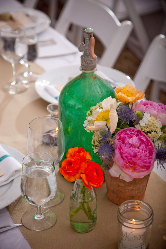 Vintage meets Western with colorful wedding reception centerpieces