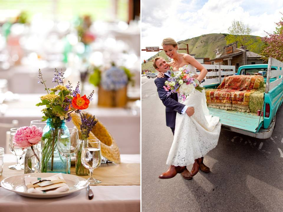 Colorful Wedding Reception Centerpieces And A Vintage Wedding Day Ride