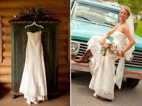 Bride wears ivory lace wedding dress, classic bridal updo and cowboy boots