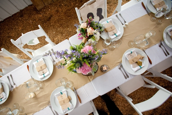 Country chic wedding in Jackson Hole with romantic wedding flower centerpieces