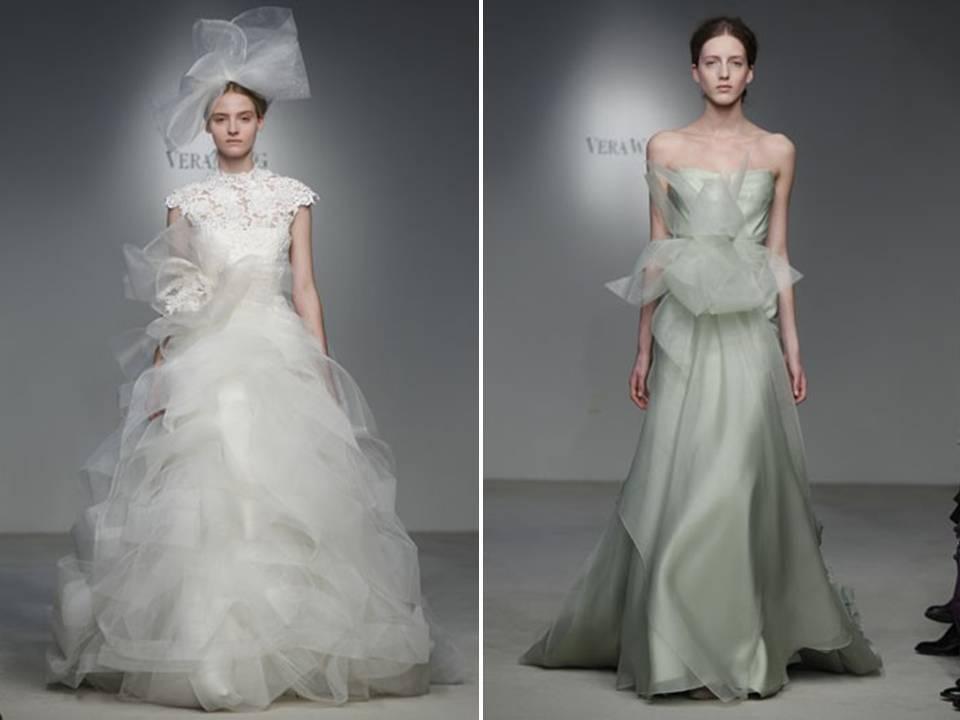 46b5ac3460cdf Haute couture-inspired Vera Wang ballgown and moss green column gown