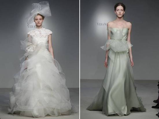 Haute couture-inspired Vera Wang ballgown and moss green column gown
