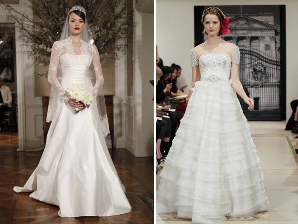 Royal inspired wedding dresses with sleeves by Reem Acra and Romona Keveza
