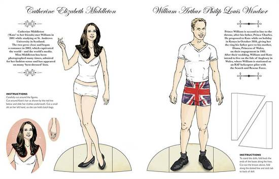 Prince William and Kate Middleton memorabilia- royal wedding dress-up dolly kit