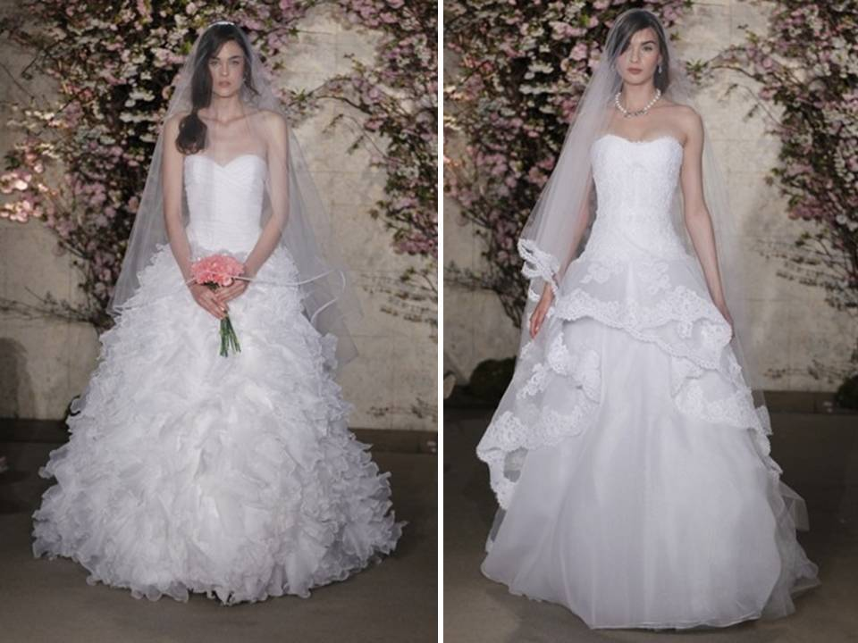 Romantic ballgown wedding dresses featuring corset bodice and romantic lace