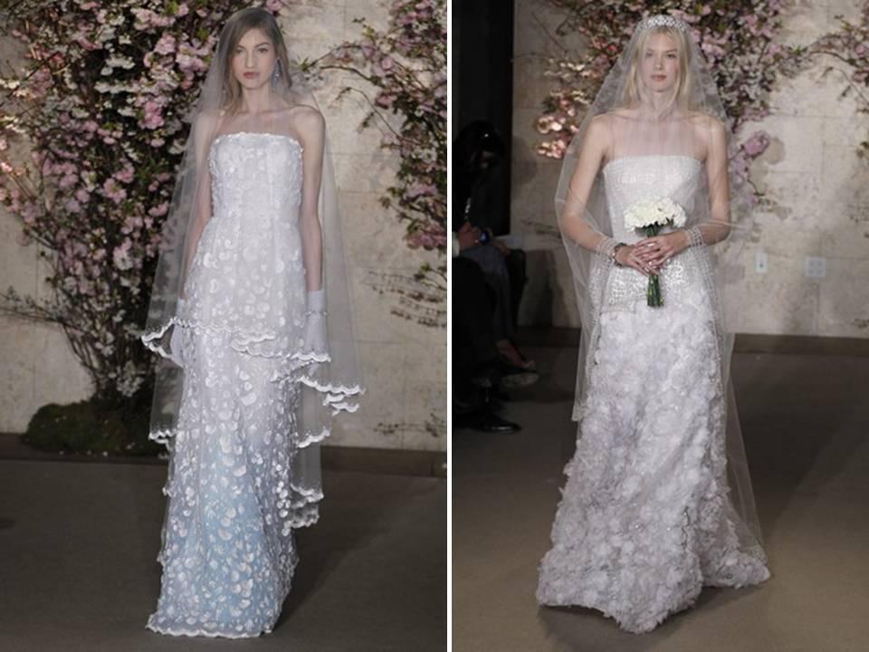 Classic 2012 Bridal Gowns By Oscar De La Renta With Romantic Applique