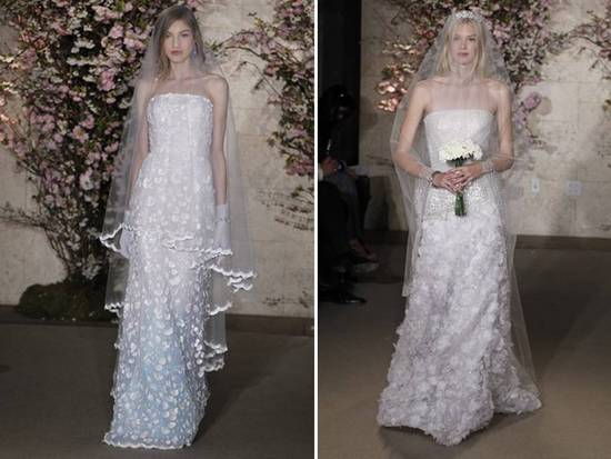 Classic 2012 bridal gowns by Oscar de la Renta with romantic applique