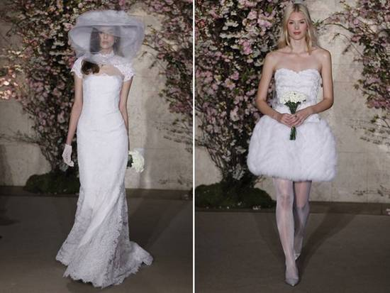 Spring 2012 Oscar de la Renta bridal gowns- romantic lace mermaid, short reception frock