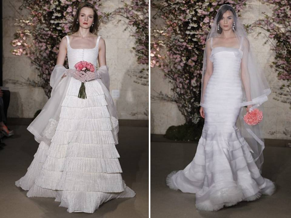 Oscar De La A Vintage Inspired 2017 Wedding Dresses With Tiered Skirts