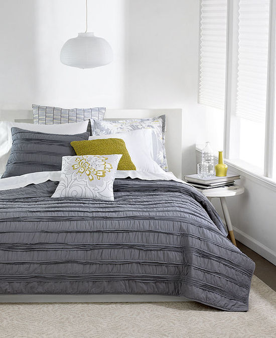 Bar III Solid Grey Ruffled Coverlet Collection