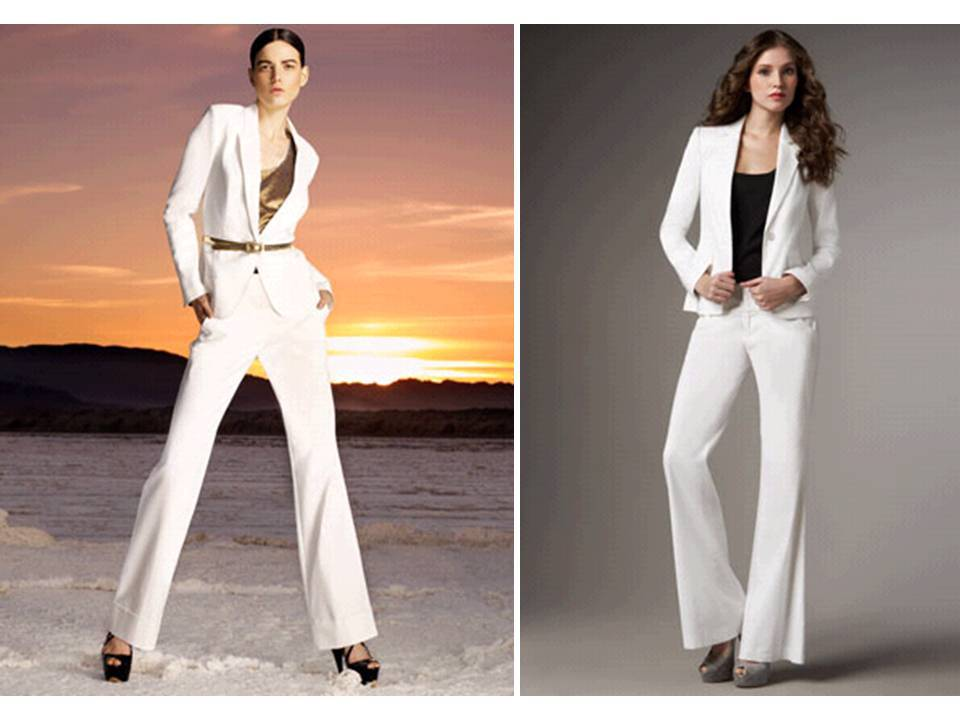 White-suit-brides-casual-look-jacket-wide-legged-pants-pre-wedding-style-engagement-party-rehearsal-dinner.full