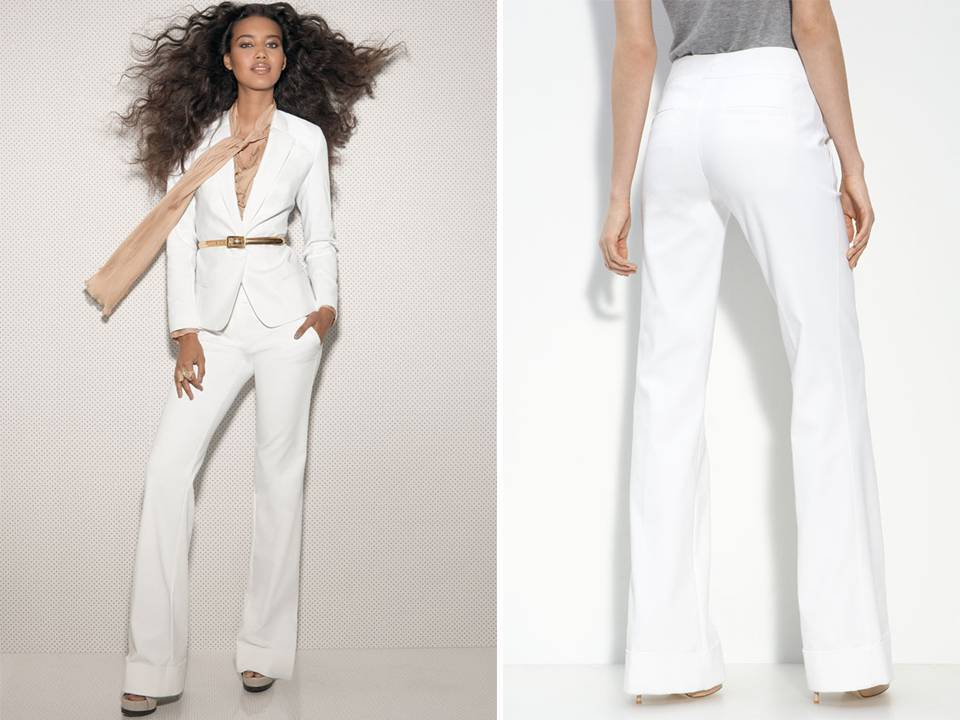All white tailored women's suit for your rehearsal dinner