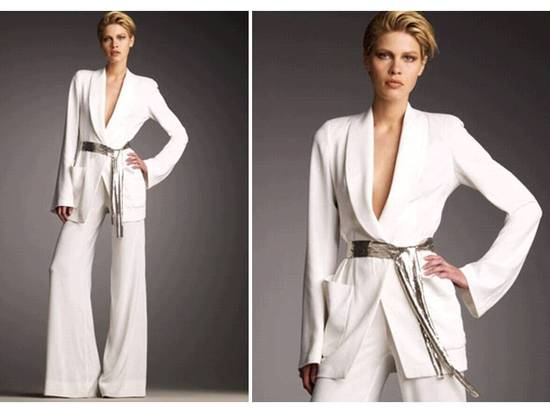 White on-trend suit by Donna Karen for pre-wedding bridal festivities