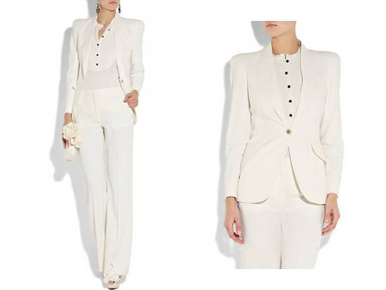 Chic white tailored suit for your rehearsal dinner or engagement party!