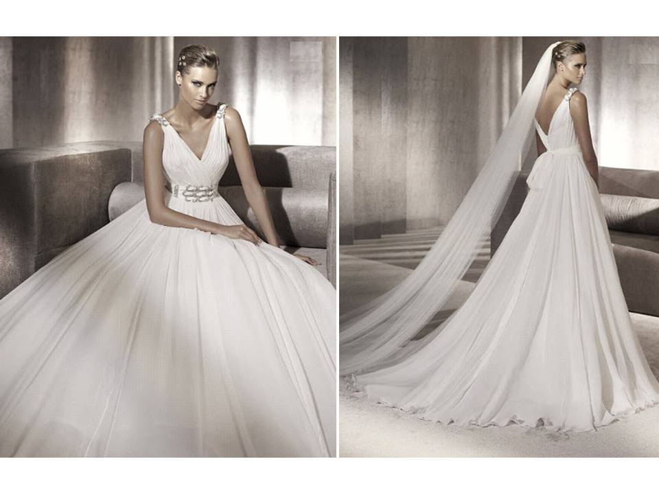 Chic 2012 pronovias wedding dress with v neck and for Wedding dress bling detail