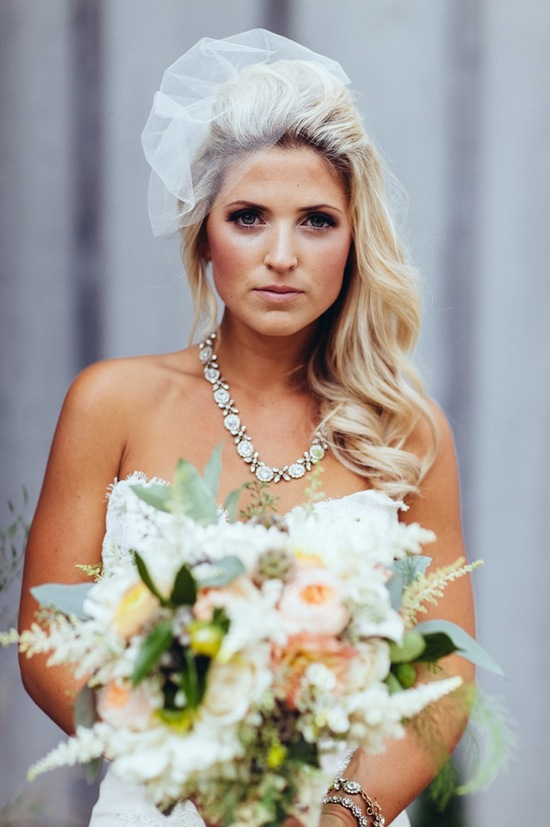 Real bride beauty with loose curls