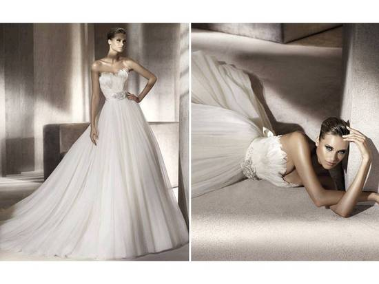 Strapless a-line Pronovias wedding dress with embellished rhinestone crystal sash
