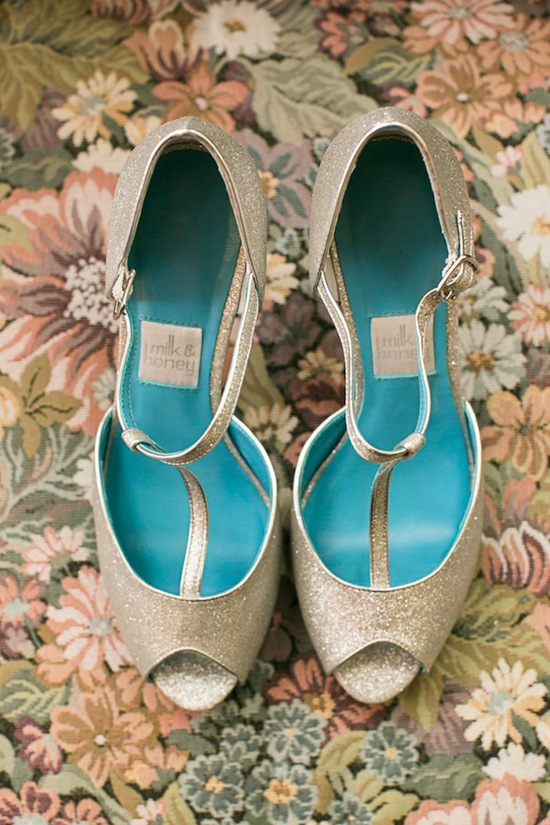 Bridal shoes with something blue soles