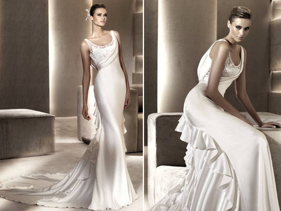 Slinky silk sheath scoop neck wedding dress with romantic for Scoop neck sheath wedding dress